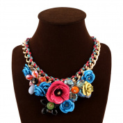 truecharms Women's Rose Necklaces Pendants Transparent Big Resin Crystal Flower Choker Statement Necklace