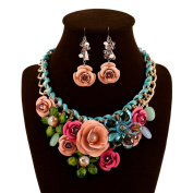 truecharms Women's Luxury Fashion Jewellery Sets Evening Party African Beads Jewellery Set Suspension Crystal Flower Earring Necklace Set