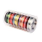 Outus 10 Pieces 0.3 mm Bare Copper Wire Jewellery Beading Wire, Mixed Colours