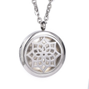 Stainless Steel Diffuser Locket Aromatherapy Pendant Set,with 60cm Premium Chain + 5 Thick Pads