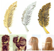 Qi Tian Pack of 3 Metal Alloy Feather Leaves Hairpin Hair Clips Hair Accessories