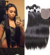 Etino Brazilian Virgin Straight Hair Weave 3 bundles 100% Unprocessed Human Hair Extensions Natural Colour Can Be Dyed and Bleached