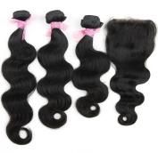 Formal Hair®Brazilian Virgin Body Wave Hair 3 Bundles with 4*4 Lace Closure Human Hair Extensions Unprocessed Natural Colour 60cm 70cm 70cm +41cm
