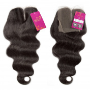 Shacos Brazilian Virgin Human Hair Closure Body Wave Natural Black Hairpieces Middle Part Lace Closure