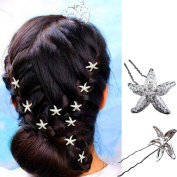 Crystal Rhinestone Starfish Bridal Wedding Party U-shaped Hair Pin Hair Clip Wedding Accessory