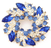 JSDY Womens Girls Ladies Candy Colour Bohemia Crystal Drop Flowers Garland Pin Brooch Blue