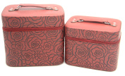 HOYOFO 2-Piece Set 3D Rose Pattern Large Makeup Travel Bag,Brown
