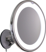 10X Magnifying Lighted Makeup Mirror With Chrome Finish, Locking Suction Mount And Ball Joint Swivel For Changing the Mirrors Angle