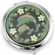 Dolphins Gel Inlay - Dual Sided Steel Compact Mirror - Regular & Magnify