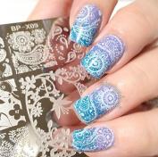 BornPretty 6*6cm Square Nail Art Stamp Template Paisley Design Floral Image Plate BP-X09