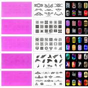 Bluezoo 5Pcs Plastic Nail Stamping Plates DIY Nail Art Design Manicure Set Translucent Red (KD-SM612