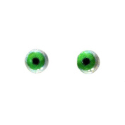 6mm Pair of Green adn White Glass Eyes Crafting Supply Flatback Cabochons for Doll or Jewellery Making