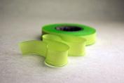 "2.5"" (62mm) Hand dyed silk ribbon bias cut 38 yard spool - Colour 514 Green"