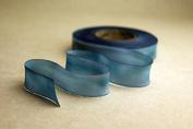 "5/8"" (15mm) Hand dyed silk ribbon bias cut 38 yard spool - Colour 517 Blue"