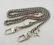 GH8 Black White flower 6mm Chains 23/31/39/47inches Long Silver Tone Mini Purse/Shoulder/Cross Body Bag Replacement Metal Strap