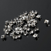 Vikeva 100 Silver 6mm Pyramid Studs Spots Punk Rock Nailheads Spikes for Bag Shoes