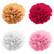 Atmos Spheres - Pack of 20 Tissue Paper Flower Pom Pom Balls - Size 20cm , 25cm , 36cm - 4 Colours - Wedding, Birthday, Baby showers, Room decor, and Party Decoration.