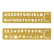 Loghot 2 Set Vintage Brass Alphabet & Number Drawing Drafting Stencil Multifunctional Metallic Painting Drawing Template