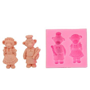 Mr.S Shop 3D Cute Bear Lovers Silicone Mould Fondant Soap Cake Mould Baking Tools Cake Decorating Tools,Small Size