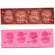 Mr.S Shop DIY 3D Four Santa Claus Silicone Moulds Fondant Cake Sugar Ice Moud Cake Decorating Tools ,Small Size