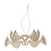 NUOLUX 10pcs Wooden Love Birds for Crafts Wedding Decoration