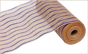 27cm X10yd Royal Blue & Natural Poly/Jute/Metallic Mesh
