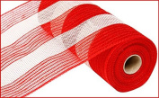 27cm X10yd Red & White Poly/Jute/Cotton Stripe Mesh