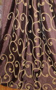 Dupioni Silk embroider scroll, Fabric Iridescent Colour chocolate/gold, 150cm wide, sold by the yard