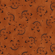 Cat Fabric - On the Web - Halloween Cat Toss - Dark Rust - 100% Cotton - By the Yard