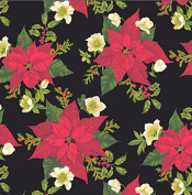 Andover-Makower 'Poinsettia' Red on Black with White Flosers and Holly Christmas Cotton Fabric 44-110cm Wide