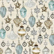 Andover-Makower 'Balmoral' Scottish Glass Christmas Ornaments on Pale Brown Cotton Fabric 44-110cm Wide
