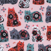 Cat Fabric - From Porto With Love - Sushi's Antiques - Pink - 100% Cotton - By the Yard
