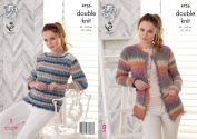 King Cole Ladies Double Knitting Pattern Womens Tassel Edging Jacket & Sweater