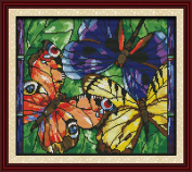 CaptainCrafts Hot New Releases Cross Stitch Kits Patterns Embroidery Kit - Colourful Butterflies