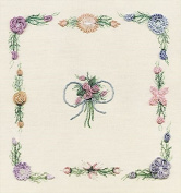 Spring Bouquet - Edmar kit #1814, Brazilian embroidery KIT, White Fabric