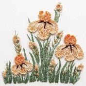 Iris Patch - EdMar kit #1040, Brazilian embroidery KIT, Cream Fabric