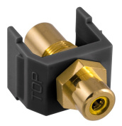 Hubbell SFRCYFFBK Snap-Fit RCA Gold Pass-Through F/F Coupler, Black