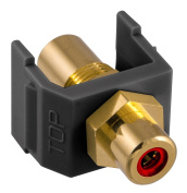 Hubbell SFRCRFFBK Snap-Fit RCA Gold Pass-Through F/F Coupler, Black