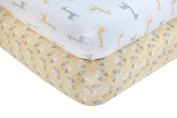 Little Love by NoJo Giraffe Time 2 Piece Sheet Set, Yellow