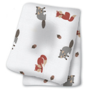 lulujo Baby Cotton Muslin Swaddling Blanket, Forest Friends