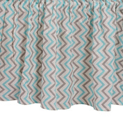 Zack & Tara Crib Skirt - Chic Chevrons in Aqua & Grey