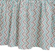 Zack & Tara Crib Skirt - Chic Chevrons in Aqua & Grey