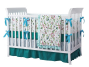 Teal Green Flowers 7pcs crib set Baby Bedding Set Crib Bedding Set Girl Nursery Crib Bumper bedding