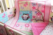 Pink Owl Bird 7pcs crib set Baby Bedding Set Crib Bedding Set Girl Boy Nursery Crib Bumper bedding