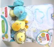 Baby Blanket & 3 Shaker Rattles Elephant Giraffe Lion Gift Set