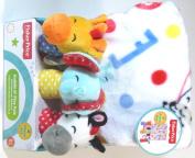 Baby Blanket & 3 Shaker Rattles Giraffe Elephant Zebra Gift Set