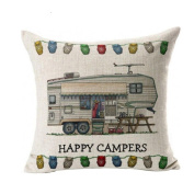 Fullkang HAPPY CAMPERS Pillow Case Sofa Waist Throw Cushion Cover