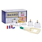 Generic 6-Cup Biomagnetic Chinese Cupping Therapy Set Vacuum Cups with Suction Pump,Best for Foot and Hand Reflexology,Arthritis,Muscle & Joint Pain,Shoulders,Back,Knees