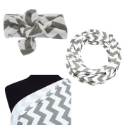 Itzy Ritzy Nursing Happens Infinity Breastfeeding Scarf C.Grey Chevron & Matching Top Knot for Baby