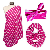 Itzy Ritzy Nursing Happens Infinity Breastfeeding Scarf Pink Peony Stripe & Matching Top Knot for Baby